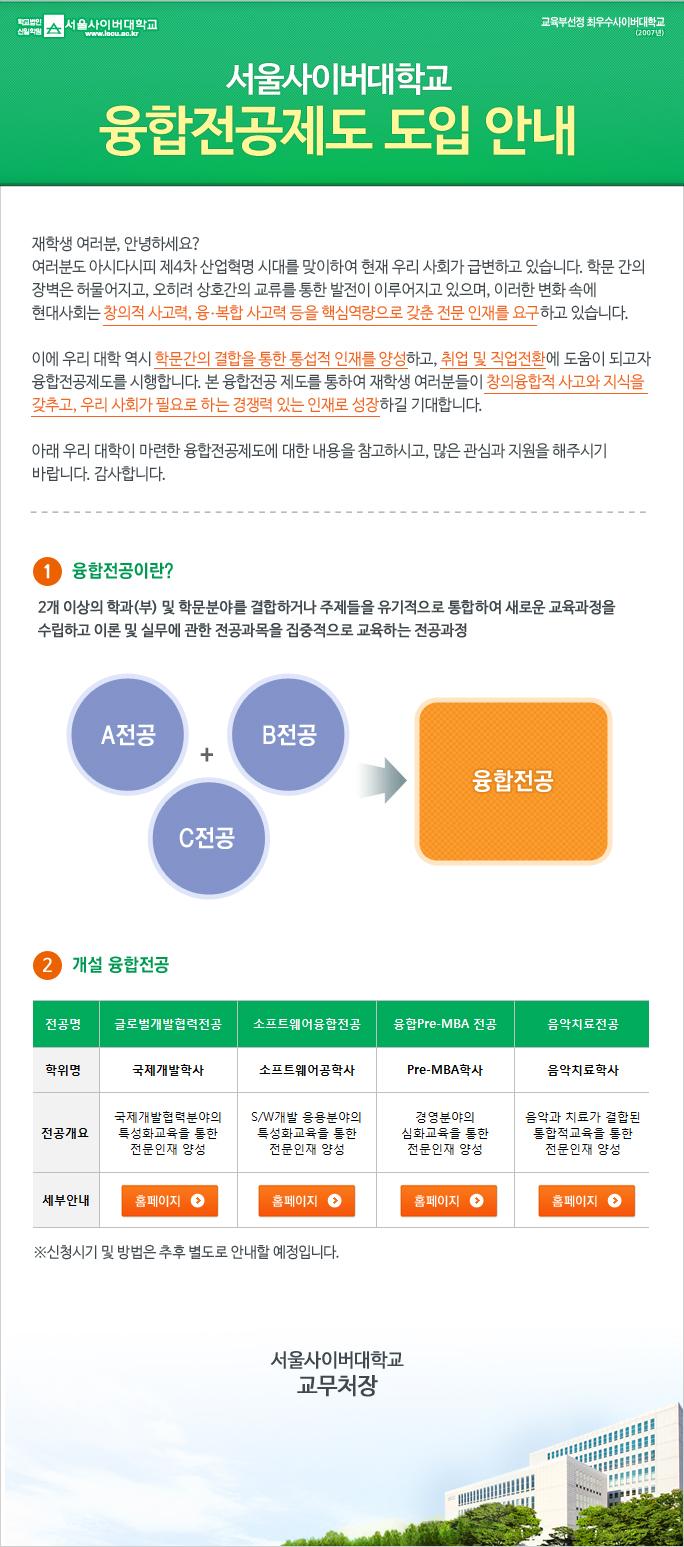 서울사이버대학교 융합전공제도 도입 안내